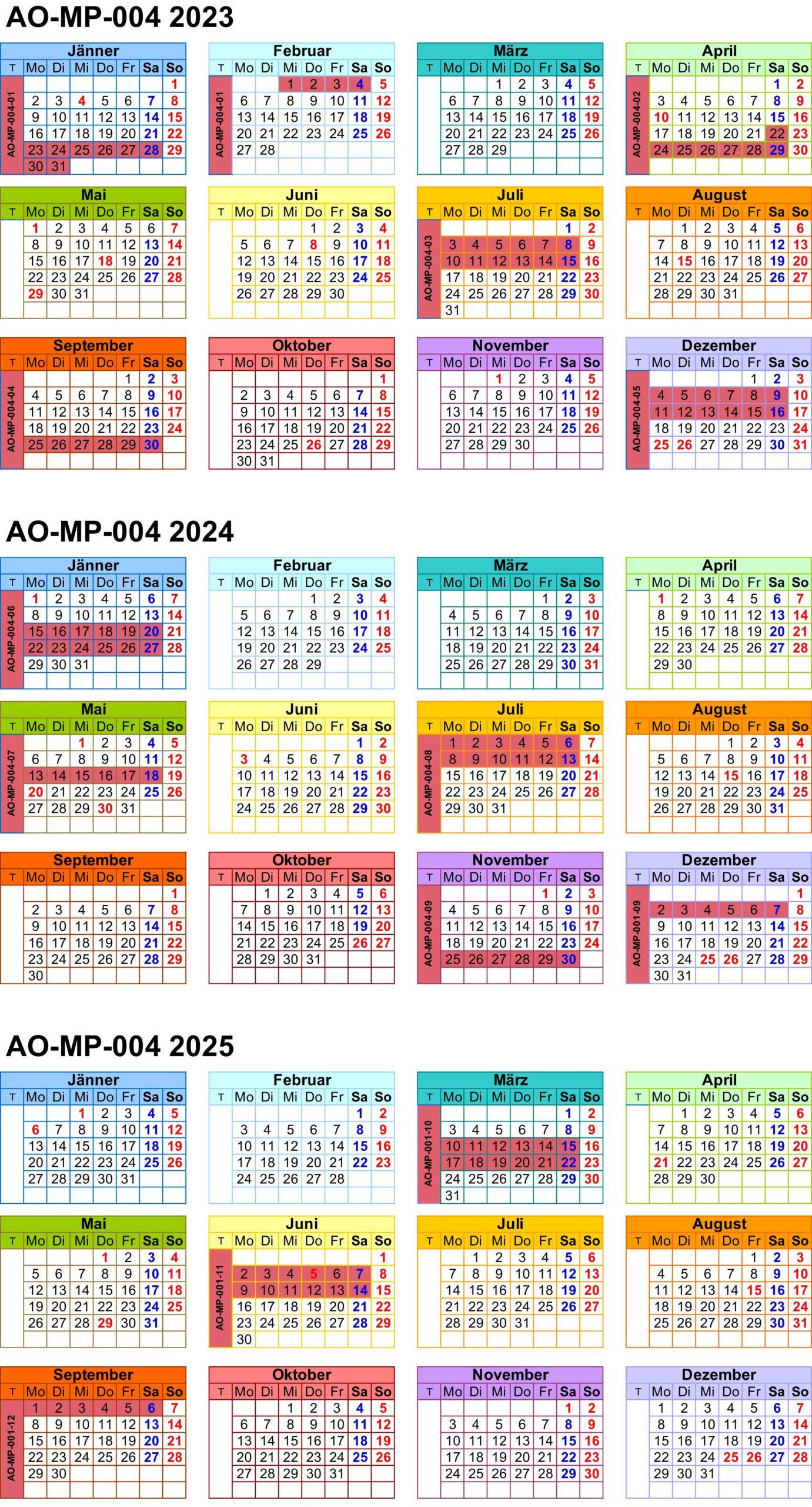 Zeitplan AO-MP-004